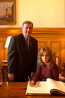 August 30, 2001, Montreal, Quebec, Canada<br /> <br /> Pierre Bourque, Montreal Mayor (at that time)  (L) look a tEmmanuelle Beart (Béart), French actress and President of the 25th World Film Festival Jury (Festival des Films du Monde) as she sign the Montreal's gold book during a reception at Montreal City Hall  August 30 , 2001 in Montreal, CANADA.