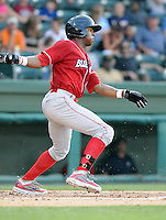 Outfielder Zach Collier (6) of the Lakewood BlueClaws, Class A affiliate of the Philadelphia Phillies, in a game against the Greenville Drive on July 12, 2011, at Fluor Field at the West End in Greenville, South Carolina. (Tom Priddy/Four Seam Images)