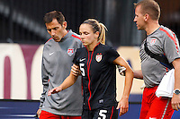 14 MAY 2011: USA Women's National Team midfielder Lindsay Tarpley (5) his help off the pitch by trainers during the International Friendly soccer match between Japan WNT vs USA WNT at Crew Stadium in Columbus, Ohio.