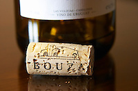 Bouza cork in front of a bottle of chardonnay. On the cork there is a drawing of the winery. Bodega Bouza Winery, Canelones, Montevideo, Uruguay, South America