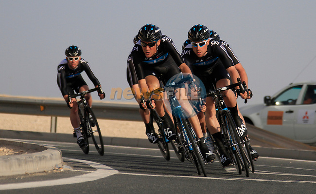Sky Procycling team in action during the 2nd Stage of the 2012 Tour of Qatar an 11.3km team time trial at Lusail Circuit, Doha, Qatar. 6th February 2012.<br /> (Photo Eoin Clarke/Newsfile)