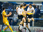 Greenock Morton v St Johnstone...27.10.15  League Cup Quarter Final, Cappielow...<br /> Ross Forbes handles the ball for a penalty<br /> Picture by Graeme Hart.<br /> Copyright Perthshire Picture Agency<br /> Tel: 01738 623350  Mobile: 07990 594431