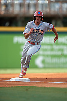 Clearwater Threshers center fielder Mark Laird (6) rounds third base during a game against the Bradenton Marauders on July 24, 2017 at LECOM Park in Bradenton, Florida.  Bradenton defeated Clearwater 6-3  (Mike Janes/Four Seam Images)