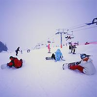 Snowboarding and Downhill Skiing on Whistler Mountain, Whistler Ski Resort, BC, British Columbia, Canada