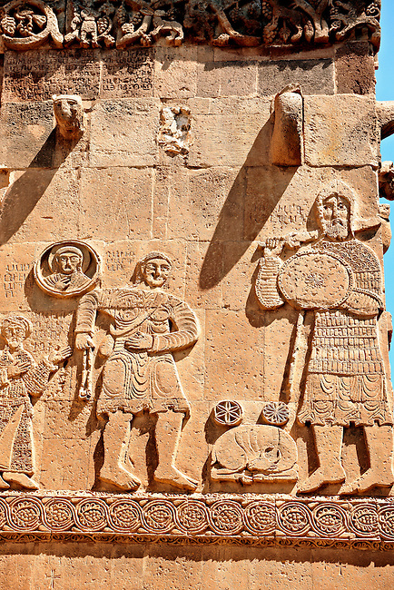 Bas Releif sculptures with scenes from the Bible on the outside of the 10th century Armenian Orthodox Cathedral of the Holy Cross on Akdamar Island, Lake Van Turkey 31