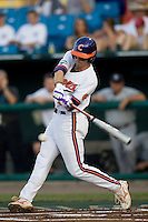 Clemson's Michael Freeman in Game 12 of the NCAA Division One Men's College World Series on June 25th, 2010 at Johnny Rosenblatt Stadium in Omaha, Nebraska.  (Photo by Andrew Woolley / Four Seam Images)