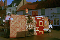 Selling carpets in January, Swaffham, Norfolk,UK.