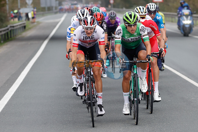 Aleksandr Riabushenko (BLR) UAE Team Emirates and Jhojan Orlando Garcia Sosa (COL) Caja Rural-Seguros RGA lead the 21 man breakaway group during Stage 12 of the Vuelta Espana 2020 running 109.4km from Pola de Laviana to Alto de l'Angliru, Spain. 1st November 2020..    <br /> Picture: Luis Angel Gomez/PhotoSportGomez | Cyclefile<br /> <br /> All photos usage must carry mandatory copyright credit (© Cyclefile | Luis Angel Gomez/PhotoSportGomez)