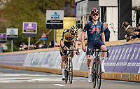 Tom Pidcock (GBR/Ineos Grenadiers) wins his very first elite road race in a sprint against none other then his cyclocross rival Wout van Aert (BEL/Jumbo-Visma)<br /> <br /> 61st Brabantse Pijl 2021 (1.Pro)<br /> <br /> 1 day race from Leuven to Overijse (BEL/202km)<br /> <br /> ©kramon