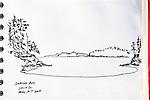 Sucia Island, San Juan Islands, Shallow Bay, Journal Art 2009, ink on paper,