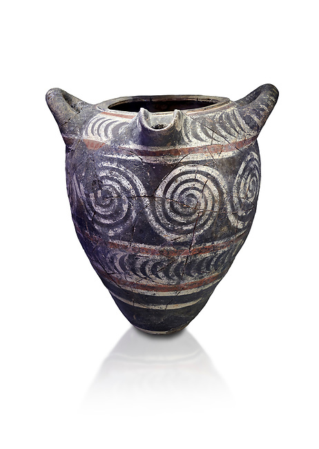 Minoan Kamares Ware pithos storage container  with swirl polychrome  decorations , Knossos 1800-1700 BC; Heraklion Archaeological  Museum, white background.<br /> <br /> This style of pottery is named afetr Kamares cave where this style of pottery was first found