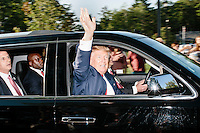 Real estate mogul and Republican presidential candidate Donald Trump arrives at a rally at the Weirs Beach Community Center in Laconia, New Hampshire.