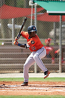 GCL Astros Dexter Jordan (12) at bat during a Gulf Coast League game against the GCL Cardinals on August 11, 2019 at Roger Dean Stadium Complex in Jupiter, Florida.  GCL Cardinals defeated the GCL Astros 2-1.  (Mike Janes/Four Seam Images)