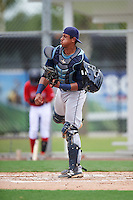 GCL Rays catcher Alexander Alvarez (8) throws down to second during the second game of a doubleheader against the GCL Red Sox on August 9, 2016 at JetBlue Park in Fort Myers, Florida.  GCL Rays defeated GCL Red Sox 9-1.  (Mike Janes/Four Seam Images)