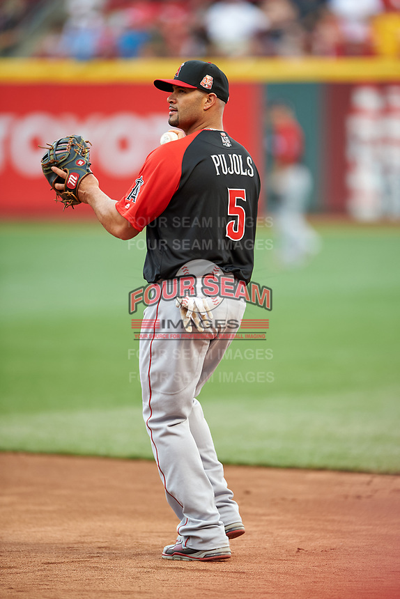 Los Angeles Angels Albert Pujols during practice before the MLB All-Star Game on July 14, 2015 at Great American Ball Park in Cincinnati, Ohio.  (Mike Janes/Four Seam Images)