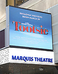 "Theatre Marquee for ""Tootsie"". The show features an original score by David Yazbek, a book by Robert Horn (13, choreography by Denis Jones, musical direction by Andrea Grodyand directed by Scott Ellis. Leading the company are Santino Fontana, Lilli Cooper, Sarah Stiles, John Behlmann, Andy Grotelueschen, Julie Halston, Michael McGrath, and Reg Rogers. on September 21, 2018 at The Marquis Theatre in New York City."
