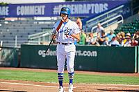 Donovan Casey (43) of the Ogden Raptors bats against the Orem Owlz at Lindquist Field on September 10, 2017 in Ogden, Utah. Ogden defeated Orem 9-4. (Stephen Smith/Four Seam Images)