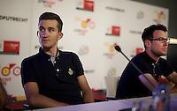 World Champion Michal Kwiatkowski (POL/Etixx-Quickstep), next to Mark Cavendish (GBR/Etixx-QuickStep) at the 2015 pre-Tour de France press conference