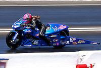 Jun. 1, 2013; Englishtown, NJ, USA: NHRA pro stock motorcycle rider Angie Smith during qualifying for the Summer Nationals at Raceway Park. Mandatory Credit: Mark J. Rebilas-
