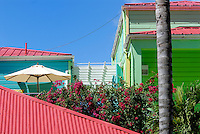 Tropical buildings. US Virgin Islands, St John, Cruz Bay