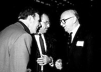 Doris Lussier (L), Roger D Landry (M) and Montreal Mayor Jean Drapeau attend the Rene Levesque tribute at Montreal's convention centre, October 2nd,1985.<br /> <br /> File Photo : Agence Quebec Presse - Pierre Roussel