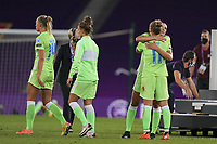 30th August 2020, San Sebastien, Spain;   VFL Wolfsburg devastated after losing the UEFA Womens Champions League football match Final between VfL Wolfsburg and Olympique Lyonnais 3-1