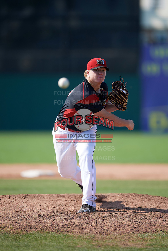 Batavia Muckdogs starting pitcher Taylor Braley (10) delivers a warmup pitch during the second game of a doubleheader against the Williamsport Crosscutters on August 20, 2017 at Dwyer Stadium in Batavia, New York.  Batavia defeated Williamsport 4-3.  (Mike Janes/Four Seam Images)