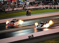 Jun. 17, 2011; Bristol, TN, USA: NHRA funny car driver Tim Wilkerson (right) alongside Johnny Gray during qualifying for the Thunder Valley Nationals at Bristol Dragway. Mandatory Credit: Mark J. Rebilas-