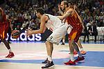 Real Madrid´s Felipe Reyes and Galatasaray´s Guler during 2014-15 Euroleague Basketball match between Real Madrid and Galatasaray at Palacio de los Deportes stadium in Madrid, Spain. January 08, 2015. (ALTERPHOTOS/Luis Fernandez)
