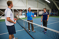 Januari 24, 2015, Rotterdam, ABNAMRO, Supermatch, The toss, left Glenn Smits and right Rens Kamphuis<br /> Photo: Tennisimages/Henk Koster