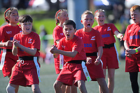 Russia performs a haka before the 2019 Rippa Championship final between Fiji / Auckland and Russia / Poverty Bay on day two of the 2019 Air NZ Rippa Rugby Championship at Wakefield Park in Wellington, New Zealand on Tuesday, 27 August 2019. Photo: Dave Lintott / lintottphoto.co.nz
