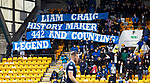 St Johnstone v Dundee…02.10.21  McDiarmid Park.    SPFL<br />The saints fans hold a banner to mark Liam Craig's record 442nd club appearance <br />Picture by Graeme Hart.<br />Copyright Perthshire Picture Agency<br />Tel: 01738 623350  Mobile: 07990 594431