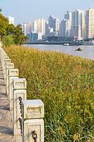 Wenzhou, Zhejiang, China.  View of Wenzhou Across the Oujiang River from Jiangxin Island.