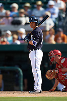 Detroit Tigers second baseman Thomas Field (74) at bat during an exhibition game against the Florida Southern Moccasins on February 29, 2016 at Joker Marchant Stadium in Lakeland, Florida.  Detroit defeated Florida Southern 7-2.  (Mike Janes/Four Seam Images)