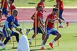 Spanish Alvaro Morata and Jordi Alba  during the second training of the concentration of Spanish football team at Ciudad del Futbol de Las Rozas before the qualifying for the Russia world cup in 2017 August 30, 2016. (ALTERPHOTOS/Rodrigo Jimenez)
