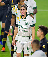 LOS ANGELES, CA - SEPTEMBER 13: Jorge Villafana #4 of the Portland Timbers getting ready for a corner kick during a game between Portland Timbers and Los Angeles FC at Banc of California stadium on September 13, 2020 in Los Angeles, California.