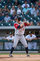 Todd Cunningham (20) of the Gwinnett Braves at bat against the Charlotte Knights at BB&T BallPark on August 24, 2015 in Charlotte, North Carolina.  The Knights defeated the Braves 3-2.  (Brian Westerholt/Four Seam Images)