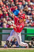 6 April 2014: Washington Nationals outfielder Nate McLouth in action against the Atlanta Braves at Nationals Park in Washington, DC. The Nationals defeated the Braves 2-1 to salvage the last game of their 3-game series. Mandatory Credit: Ed Wolfstein Photo *** RAW (NEF) Image File Available ***