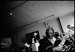 """May 4, 2005. New York, NY.. Musician James """" Blood"""" Ulmer photographed in his loft in the Soho neighborhood of New York City."""