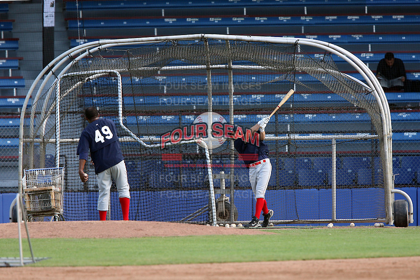 July 11th 2008:  Members of the Brooklyn Cyclones, Class-A affiliate of the NY Mets, take batting practice before a game at Russell Diethrick Park in Jamestown, NY.  Photo by:  Mike Janes/Four Seam Images