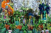 Rio de Janeiro, Brazil. Carnival samba school float with plant theme.