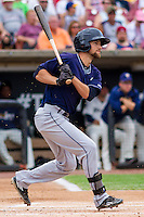 Lake County Captains outfielder Nathan Lukes (12) at bat during a Midwest League game against the Wisconsin Timber Rattlers on July 24, 2016 at Fox Cities Stadium in Appleton, Wisconsin. Lake County defeated Wisconsin 6-2. (Brad Krause/Four Seam Images)