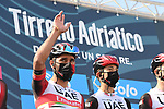 Fernando Gaviria Rendon (COL) UAE Team Emirates at sign on before the start of Stage 1 of Tirreno-Adriatico Eolo 2021, running 156km from Lido di Camaiore to Lido di Camaiore, Italy. 10th March 2021. <br /> Photo: LaPresse/Gian Mattia D'Alberto   Cyclefile<br /> <br /> All photos usage must carry mandatory copyright credit (© Cyclefile   LaPresse/Gian Mattia D'Alberto)