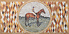 """22"""" x 44 1/2"""" Polo Player and Horse tumbled and honed mosaic"""