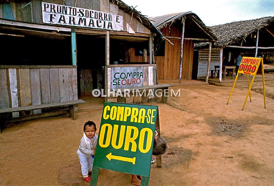 Rua comercial em Extrema em Rondônia. 1997. Foto de Cynthia Brito.