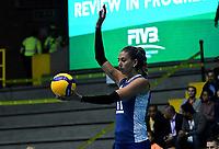 BOGOTÁ-COLOMBIA, 07-01-2020: Julieta Lezcano de Argentina, juega el balón durante partido entre Argentina y Perú, en el Preolímpico Suramericano de Voleibol, clasificatorio a los Juegos Olímpicos Tokio 2020, jugado en el Coliseo del Salitre en la ciudad de Bogotá del 7 al 9 de enero de 2020. / Julieta Lezcano from Argentina, plays the ball during a match between Argentina and Peru, in the South American Volleyball Pre-Olympic Championship, qualifier for the Tokyo 2020 Olympic Games, played in the Colosseum El Salitre in Bogota city, from January 7 to 9, 2020. Photo: VizzorImage / Luis Ramírez / Staff.