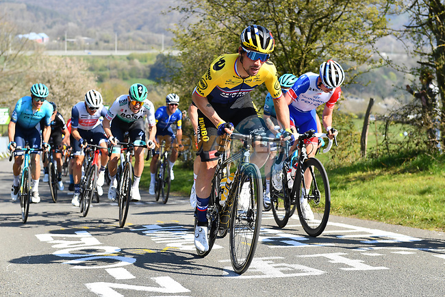 The peloton including Slovenian Champion Primoz Roglic (SLO) Team Jumbo–Visma climb La Redoute during the 107th edition of Liege-Bastogne-Liege 2021, running 259.1km from Liege to Liege, Belgium. 25th April 221.  <br /> Picture: Serge Waldbillig | Cyclefile<br /> <br /> All photos usage must carry mandatory copyright credit (© Cyclefile | Serge Waldbillig)