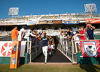 Gyasi Zardes (29) of the LA Galaxy walks onto the pitch before a third round match in the US Open Cup at WakeMed Soccer Park in Cary, NC.  The Carolina Railhawks defeated the LA Galaxy, 2-0.