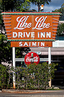 The historic Like Like Drive Inn restaurant sign on Ke'eaumoku Street, Honolulu, O'ahu.