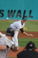 Coastal Carolina Chanticleers pitcher Tyler Herb #27 during a game against the University of Pittsburgh Panthers at Watson Stadium at Vrooman Field on March 2, 2012 in Conway, SC.  Pittsburgh defeated Coastal Carolina 3-1. (Robert Gurganus/Four Seam Images)